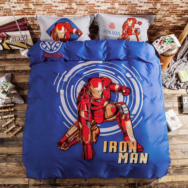 Iron Man Bedding Set Bed Kids Spider Children Comforter