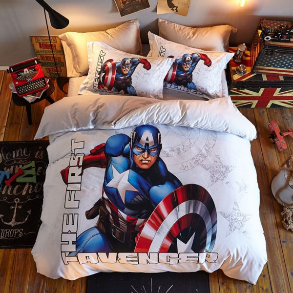 Super Hero Captain America Comforter Set Twin Queen Size