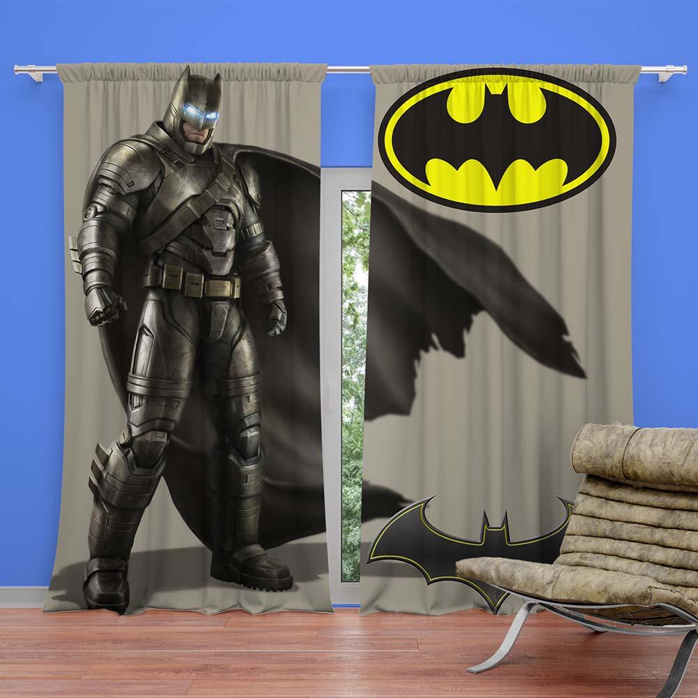 Unique Batman Vs Superman Bedroom Ideas That Rock: Batman Themed Grey Color Curtain