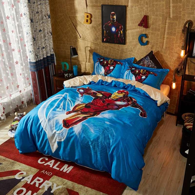 Lotus Karen Captain America Bat Man Spider Transformers Iron 100 Cotton Boys Kids Bedding