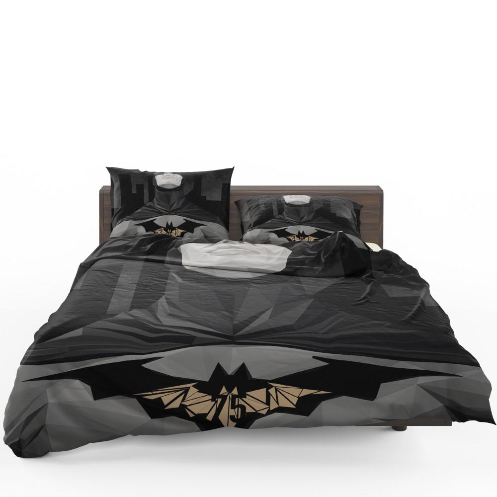 Youth Kids Bedroom Batman Dark Knight Twin Size Platform: Geometric Batman Movie Comics Bedding Set