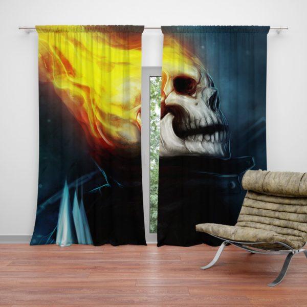 Ghost Rider Marvel Comics Skull Fantasy Artwork Curtain