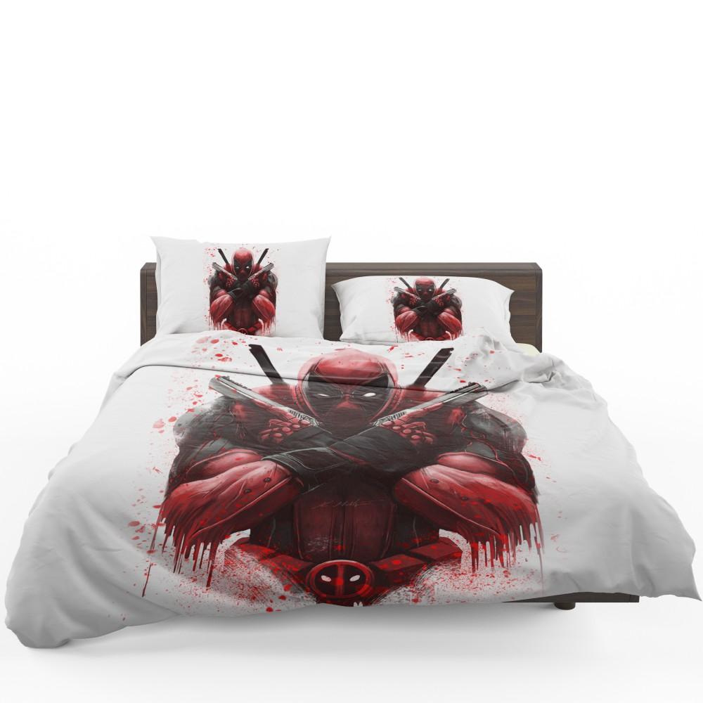 Marvel Comic Super Hero Deadpool Paint Art Bedding Set