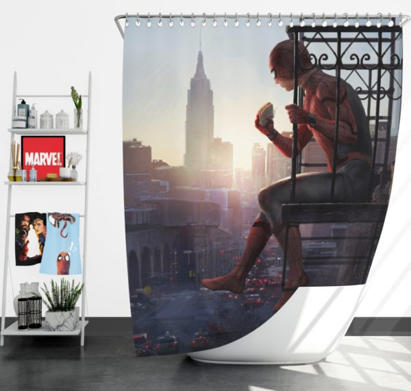 Peter Parker Spider-Man Homecoming Marvel Movie Shower Curtain