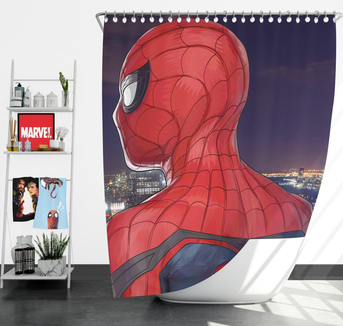 Spider Man Homecoming Super Hero Marvel Comic Shower Curtain