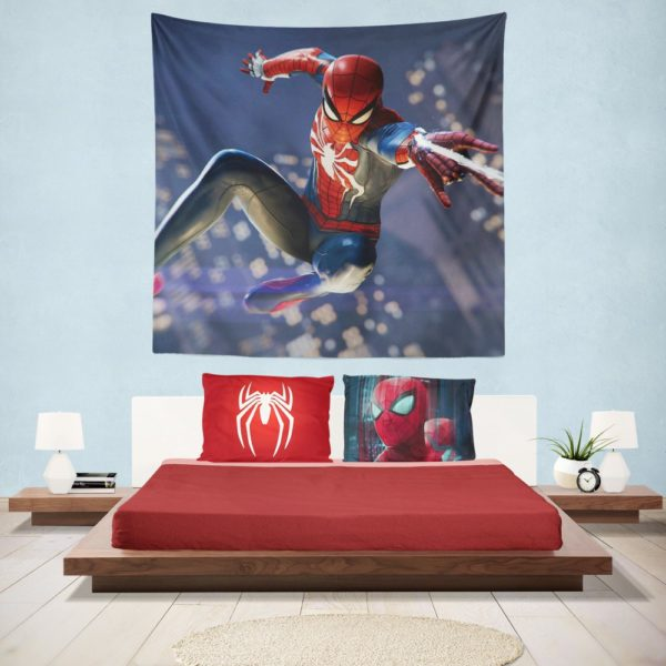 Spider Man PS4 Gameplay Hanging Wall Tapestry
