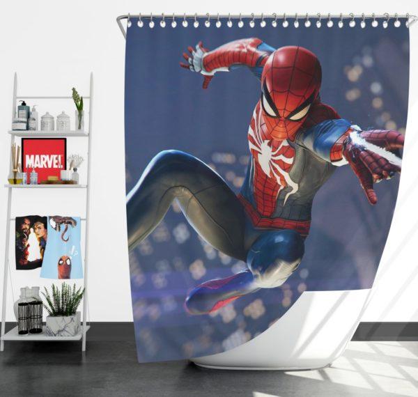 Spider Man PS4 Gameplay Shower Curtain