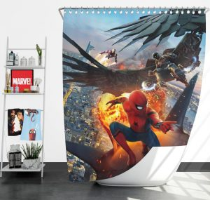 Spider-Man Vulture and Iron Man Shower Curtain
