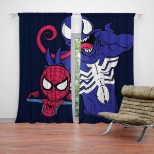 Spider-Man and Venom Artwork Print Curtain
