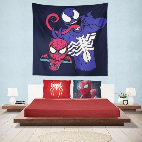 Spider-Man and Venom Artwork Print Hanging Wall Tapestry