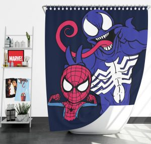 Spider-Man and Venom Artwork Print Shower Curtain