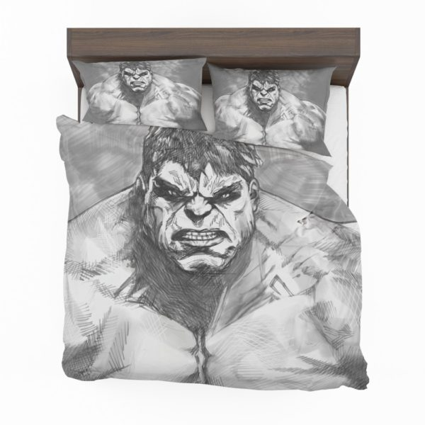 The Hulk Black And White Sketch Bedding Set 2