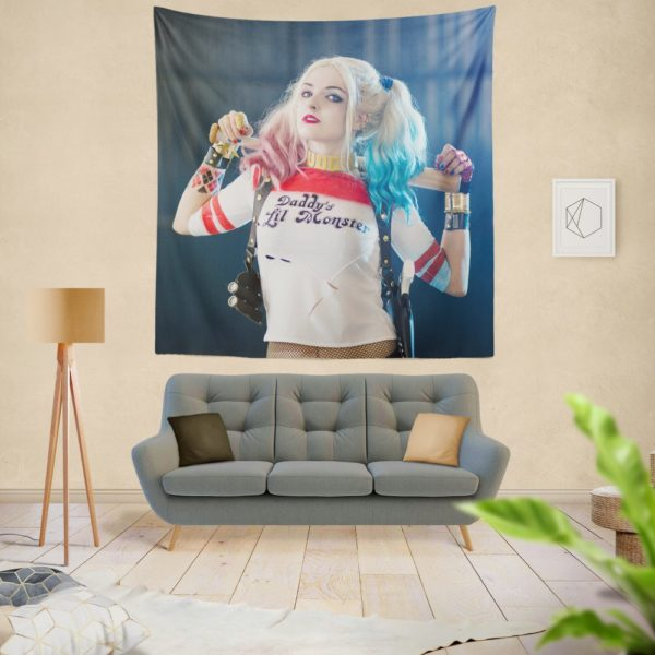 American Comic Harley Quinn Cosplay Wall Hanging Tapestry