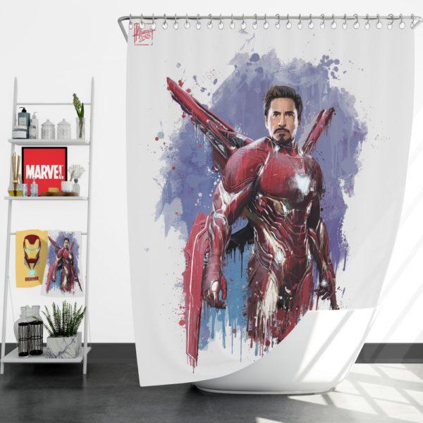 Avengers Infinity War Robert Downey Jr. Iron Man Marvel Comics Shower Curtain