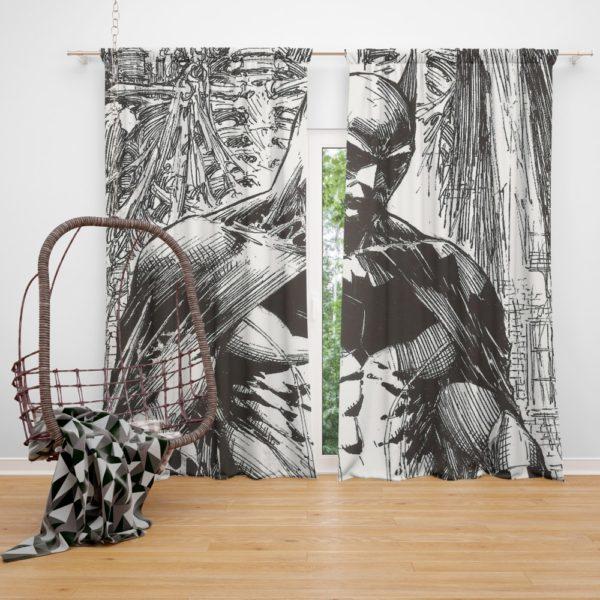 Batman Black & White Comic Art Curtain