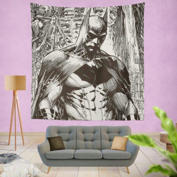 Batman Black & White Comic Art Wall Hanging Tapestry