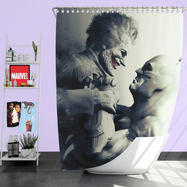 Batman vs Joker Arkham City The Dark Knight Crazyness Shower Curtain