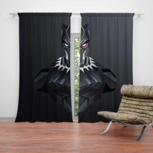 Black Panther Dark Black Artwork Curtain