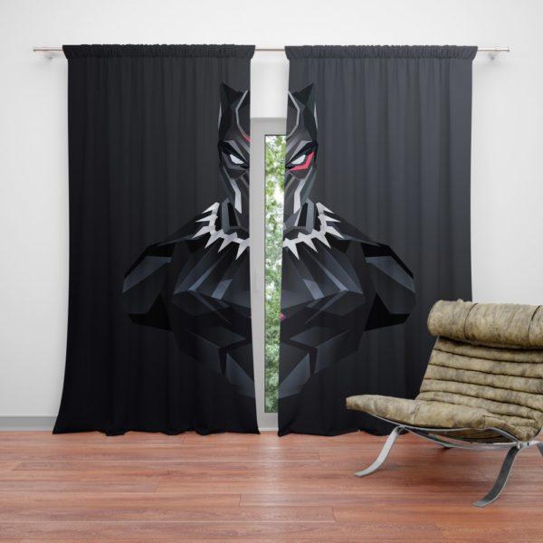 Black Panther Dark Black Artwork Curtain