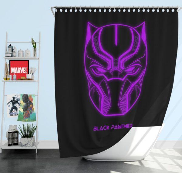 Black Panther Marvel Comics Purple Black Dark Shower Curtain