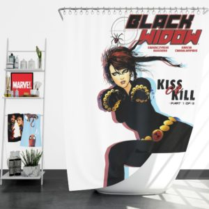 Black Widow Kiss Or Kill Marvel Comic Shower Curtain
