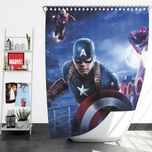 Captain America Iron Man Spider Man Shower Curtain