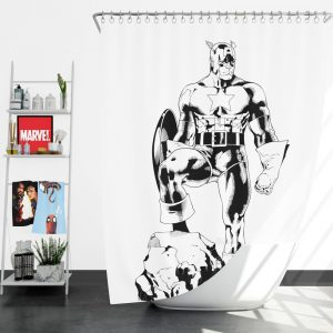 Captain America Sketch Silhouette Shower Curtain