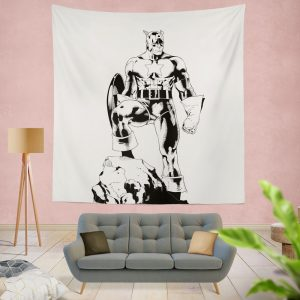 Captain America Sketch Silhouette Wall Hanging Tapestry