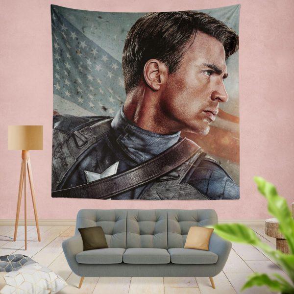 Captain America The First Avenger Captain America Chris Evans Wall Hanging Tapestry