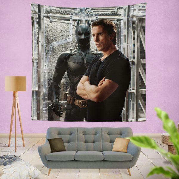 Dark Knight Rises Film Star Christian Bale Wall Hanging Tapestry