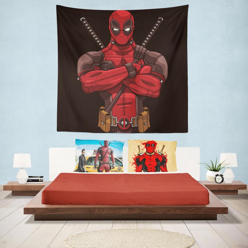 Deadpool Minimal Artwork Bedroom Wall Hanging Tapestry Super Heroes Bedding