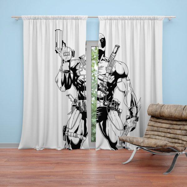 Deadpool's White X-Force Suit Stencil Art Curtain