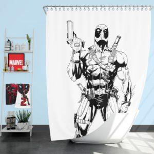 Deadpool's White X-Force Suit Stencil Art Shower Curtain