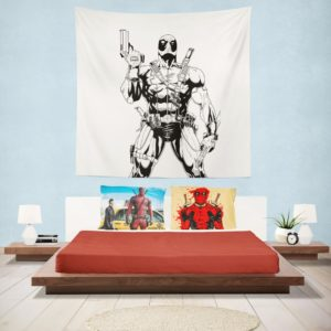 Deadpool's White X-Force Suit Stencil Art Wall Hanging Tapestry