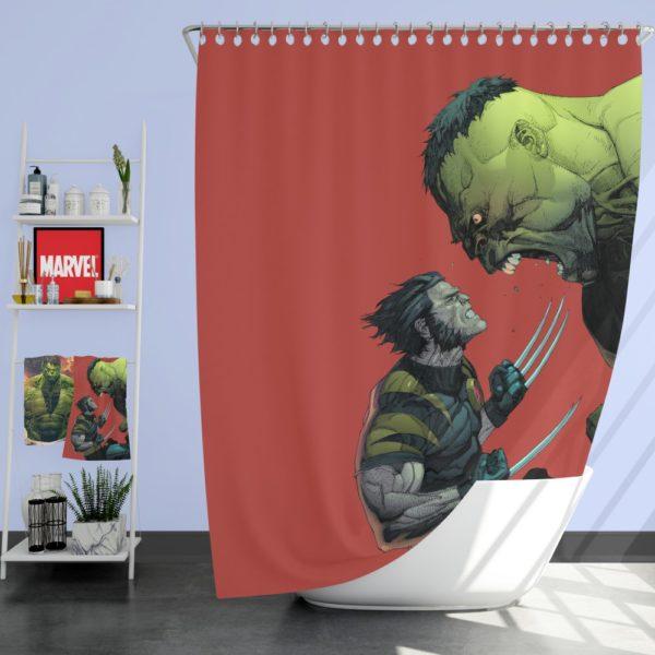 Hulk Vs Wolverine X-Men Comics Shower Curtain
