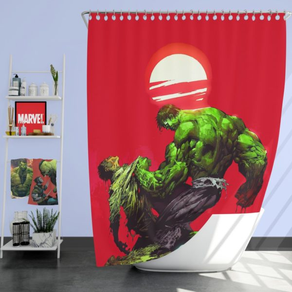Hulk vs Bruce Banner Marvel Comics Shower Curtain