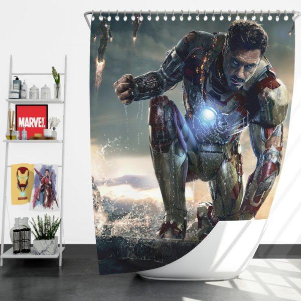 Iron Man 3 Movie Tony Stark Shower Curtain