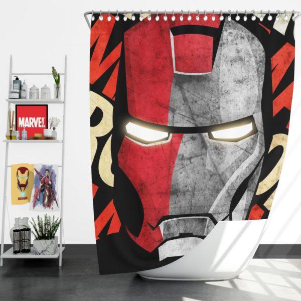 Iron Man Armor Model 9 Helmet Shower Curtain