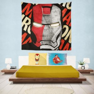 Iron Man Armor Model 9 Helmet Wall Hanging Tapestry