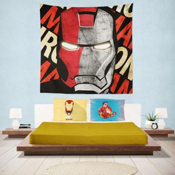Iron Man Armor Model 9 Helmet Wall Hanging Tapestry