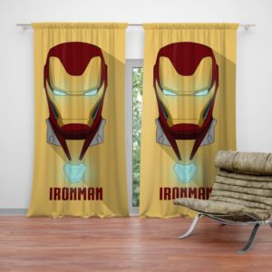 Iron Man Minimal Artwork Yellow Themed Curtain