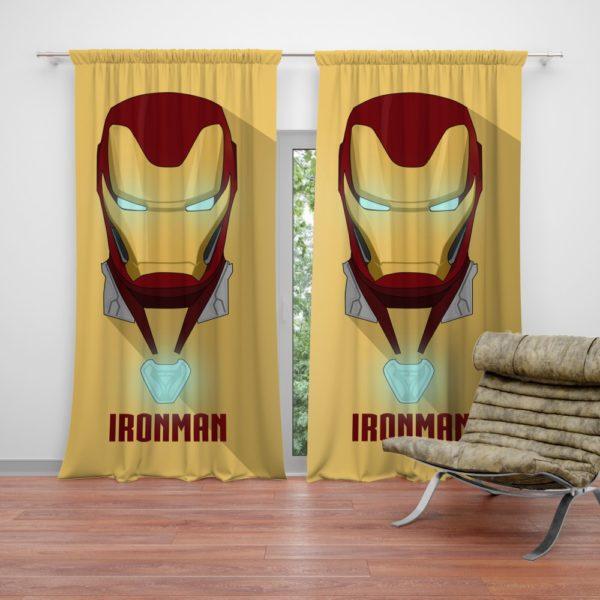 Iron Man Minimal Artwork Yellow Themed Curtain