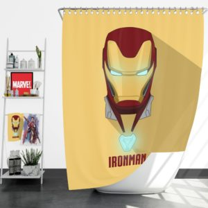 Iron Man Minimal Artwork Yellow Themed Shower Curtain