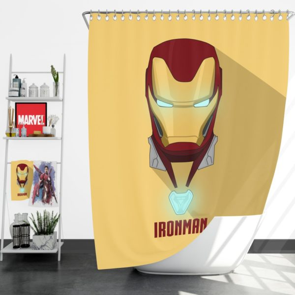 Iron Man Minimal Artwork Yellow Themed Shower Curtain