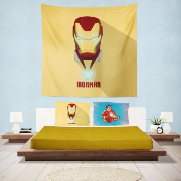 Iron Man Minimal Artwork Yellow Themed Wall Hanging Tapestry