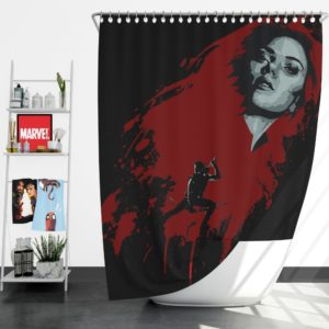 Marvel Black Widow and Hawkeye Clint Barton Shower Curtain