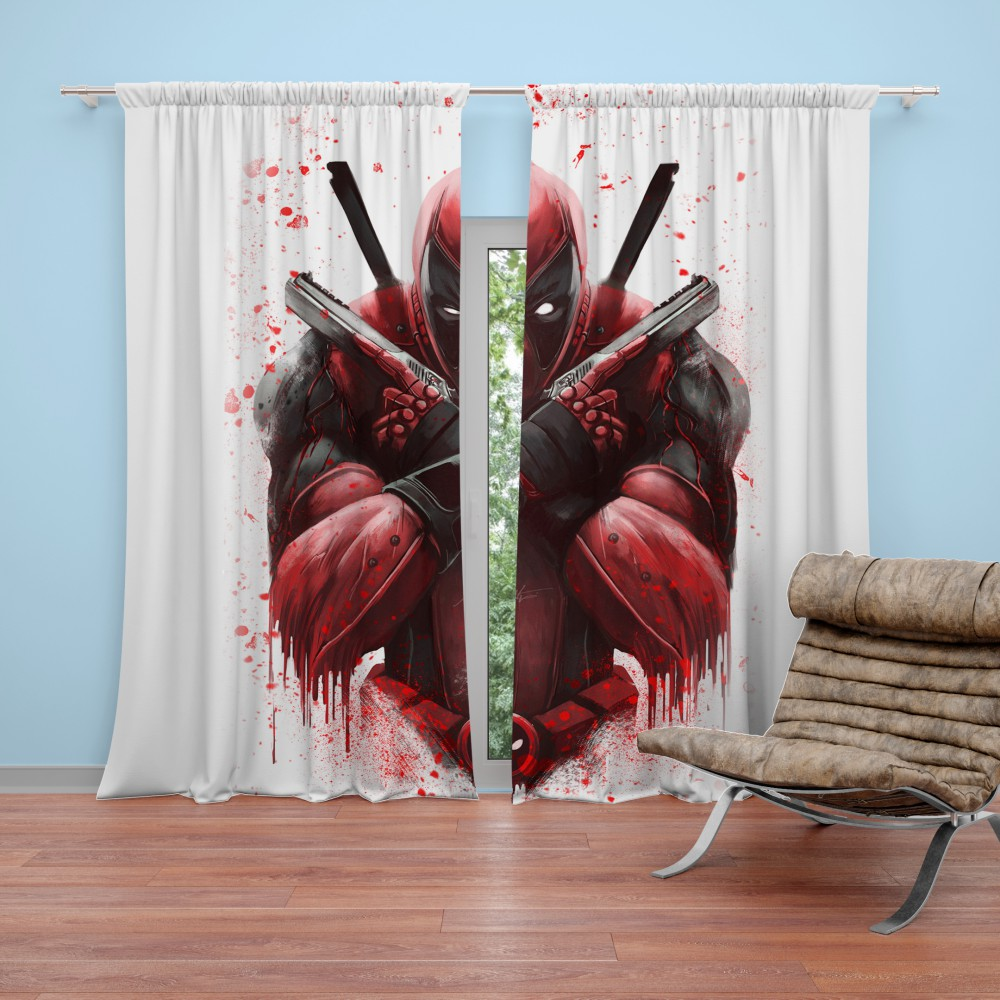 Marvel Comic Super Hero Deadpool Paint Art Curtain Super