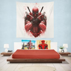 Marvel Comic Super Hero Deadpool Paint Art Wall Hanging Tapestry