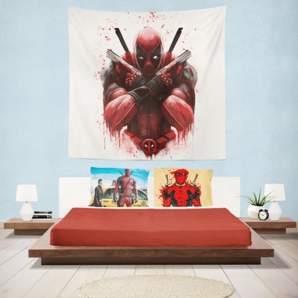 Marvel Comic Super Hero Deadpool Paint Art Wall Hanging Tapestry