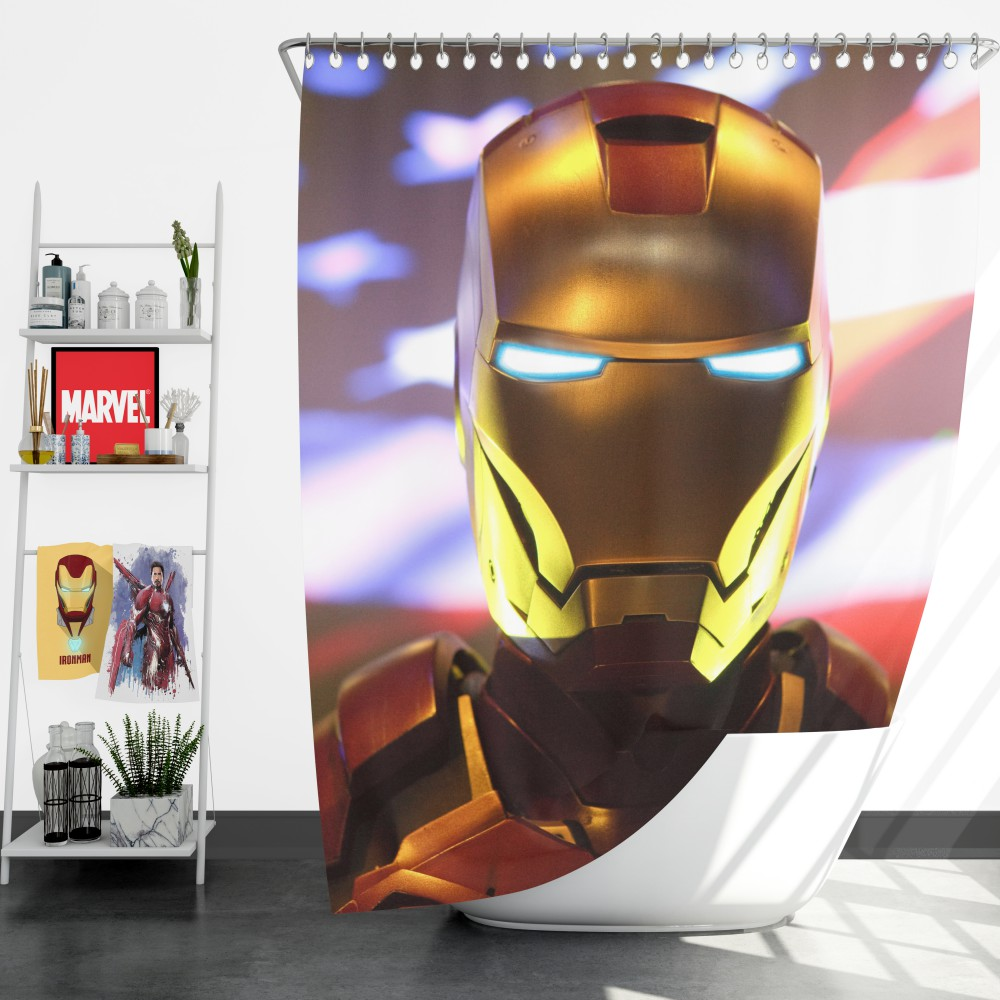 Marvel Universe Iron Man American Superhero Shower Curtain